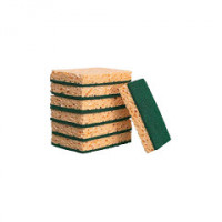 Tampon abrasif vert sur éponge jaune - paquet 10