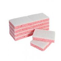 Tampon abrasif blanc sur éponge rose - paquet 10