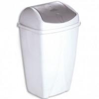 Poubelle plastique blanc 50L couvercle basculant